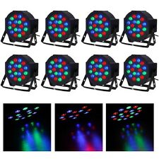 8pcs 18 LED RGB PAR CAN DJ Stage DMX Lighting For Disco Party Wedding Uplighting