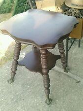 Antique glass ball and claw Mahogany table stand large