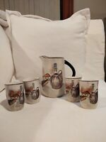 Royal Sealy Capri Small Pitcher & 4 Small Tumblers Juice Glasses