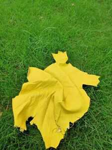 Yellow Soft Lamb Napa Leather Hide 0.7 mm Smooth Whole Skins 3.0 - 5.0 sq meter