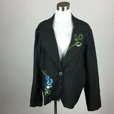 Victor Costa L Large Blazer Jacket Black Denim Embellished Floral Sequin Beaded