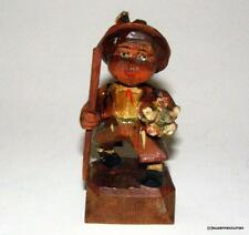 Old Anri Hand Carved Wood Carving Figurine Tyrolean Boy with Flower Bouquet