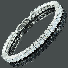 White Topaz Cubic Zirconia Square Cut 18K White Gold Plated Tennis Bracelet