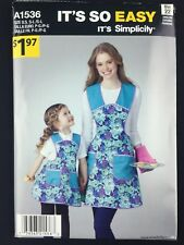 Simplicity A1536 It's So Easy Apron Child and Misses Sewing Pattern Uncut