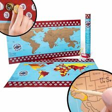 """Beer Cap Map """"Around-the-World-in -80-Beers"""" Includes tool to scratch off World"""