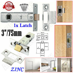"1x MORTICE TUBULAR LATCH SET Latches Internal Door Catch Interior Zinc 3""/75mm"