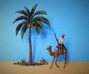 BRITAINS C1910 LEAD MOUNTED EGYPTIAN CAMEL CORPS SOLDIER WIRE TAIL COCONUT PALM