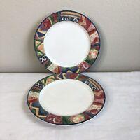 LOT 2 Sakura Oneida Malaga Sue Zipkin Dinner Plates Dinnerware Colorful China