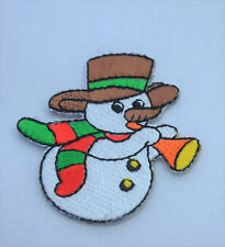 CHRISTMAS XMAS SNOWMAN 5cm Embroidered Iron Sew On Cloth Patch Badge  APPLIQUE