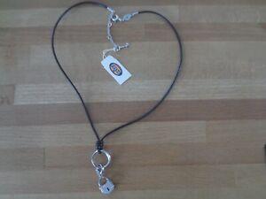 Fossil Lederband Halskette mit Anhänger Edelstahl 2 tlg. Kette