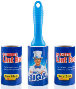 MR.SIGA Lint Roller - Lint Roller with 2 Refills Total 180 Sheets