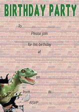 Boys Dinosaur Trex Childrens Birthday Invites x 20 A5 +envs Write your own H0014