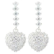 Love Heart 18K White Gold Gp Cubic Zirconia Round Cut White Topaz Drop Earrings