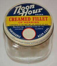 New listing Vintage Noon Hour Creamed Herring Glass Jar & Lid Nr