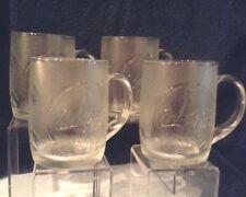 """Coca-Cola Mugs Glass 8 oz  4"""" Set of 4 1997 Original USA $15.99"""