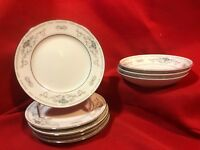 "8pc lot Fine Porcelain China Japan Berry Bowls(3) 6 1/2"" Plates(5) DIANE Pattern"