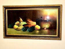 """19th C. Signed Lemond-Still Life With Fruit Pastel Painting Antique Frame 30x19"""""""