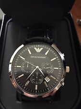 NEW IN BOX EMPORIO ARMANI AR2447 MENS STEEL BLACK CHRONOGRAPH WATCH