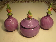 2 Old Germany Marked Ceramic Purple Perfume Bottles& Matching Covered Powder Box
