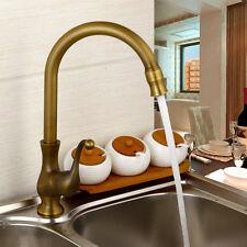 AS 360°Swivel Antique Brass Gooseneck Kitchen Sink Basin Faucet  Mixer Tap