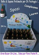 SPOSI BOLLE di SAPONE BOTTIGLIA CHAMPAGNE mini 24 Pz. COMPLEANNO FESTA LAUREA