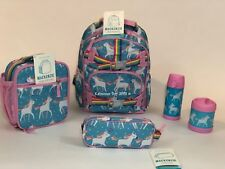 Pottery Barn Kids Unicorn SMALL Backpack Aqua Lunchbox Water Thermos Girls Set 6