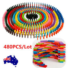 480PCS Domino Wooden Tiles Tumbling Doninoes Knock Down Kids Colored Toy AU