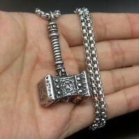 Men's Norse Heavy Viking Thor's Hammer Mjolnir Stainless Steel Pendant Necklace