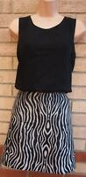 NEXT ABSTRACT ZEBRA BLACK WHITE TUBE CHIFFON FORMAL PARTY BODYCON DRESS 10 S