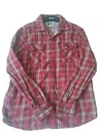 Converse One Star Men's Medium Button Down Snaps Long Sleeve Red Plaid Shirt