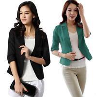NEW Womens 3/4 Sleeve One Button Blazer Suit Jacket Coat Small Short OL Tops XXL