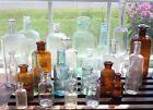 VTG ANTIQUE MEDICAL APOTHECARY PURPLE BROWN AQUA CORK TOP GLASS 25 BOTTLE LOT