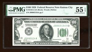DBR 1928 $100 FRN Kansas City Numeral Fr. 2150-J PMG 55 EPQ Serial J00065134A