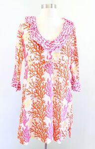 Gretchen Scott Coral Seashell Print Ruffle Tunic / Cover Up Dress M Pink Orange