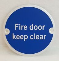 10 x Fire Door Keep Clear Sign Stainless Steel Supplied Screw Fixed 76mm Dia