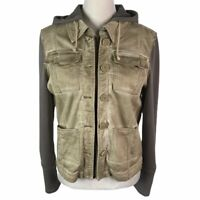 Free People Gray Distressed Look Pockets Hooded Zip Up Buttons Jacket Womens S