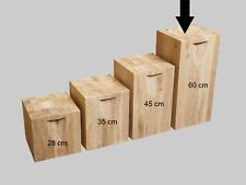 Dekosäule Holzblock Sitzklotz Hocker Massiv Blumensäule Eichenklotz 28x28x60cm