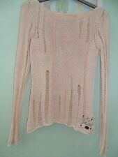 VINTAGE LADIES LONG SLEEVED JUMPER SZE S FRM RIVER ISLAND PALE PEACH WITH DETAIL