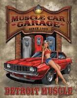Detroit Muscle Garage Vintage Retro Tin Metal Sign 13 x 16in