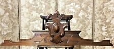 Architectural salvage mirror crowned pediment Antique french wood crest cornice