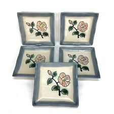 Asian Inspired Coasters Set Of 5 Handpainted Floral Barware Home Decor