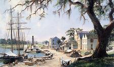 John Stobart Print - Darien: On the Georgia Tidewater Loading Sea Island Cotton
