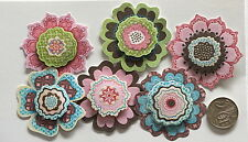 NO 141 Scrapbooking - 6 Double Mounted Large Paper Flowers - Scrapbook