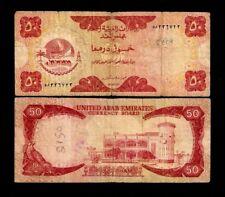 UNITED ARAB EMIRATES 50 DIRHAMS P4 1973 CAMEL AJMAN RARE ARABIC GULF MONEY NOTE