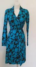 Diane von Furstenberg New Jeanne Two Vintage Vine Teal wrap dress 10 green black
