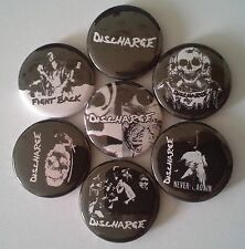 7 Discharge Pin Badges 25mm punk Never Again Fight Back Why?