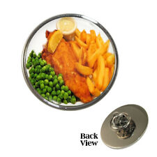 Fish n Chips Pin Badge fried battered cod and fries Brand New