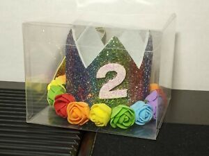Toddler Girl's 2 Year Old Birthday Party Special Glitter Crown Hat New