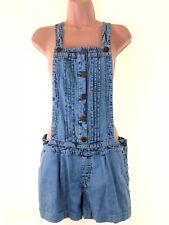 MISS SELFRIDGE light blue acid bleach wash denim dungarees shorts size 8 euro 36