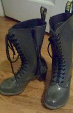 Dr. Martens Women`s Dee Diva 14 Eye Zip Heel Boot Grey Patent US 7 EU 38 UK 5